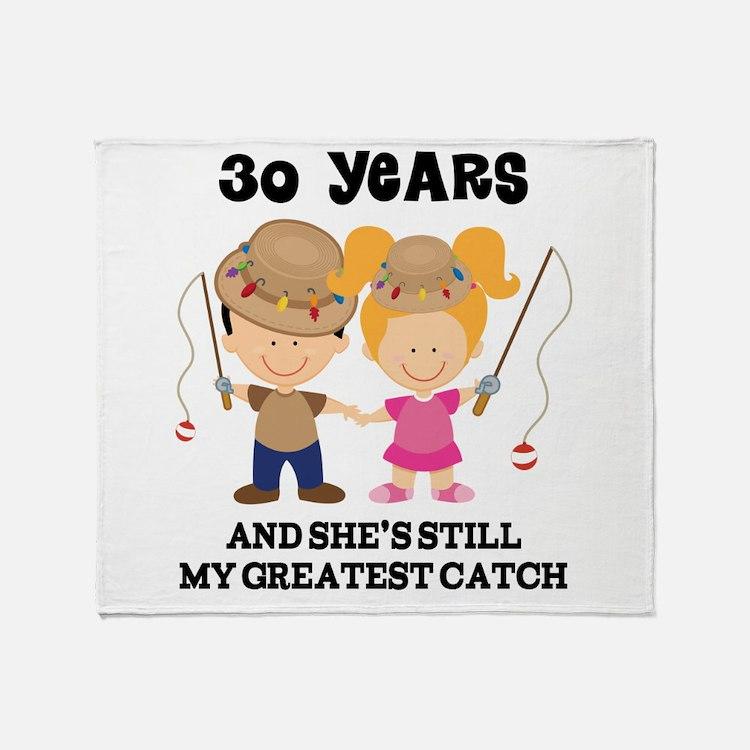 30th Anniversary Mens Fishing Throw Blanket
