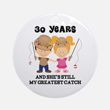 30th Anniversary Mens Fishing Ornament (Round)