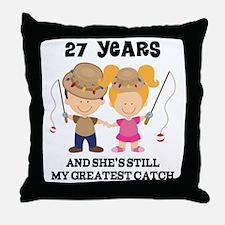 27th Anniversary Mens Fishing Throw Pillow