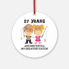 27th Anniversary Mens Fishing Ornament (Round)
