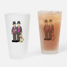 Two grooms and a dog. Drinking Glass