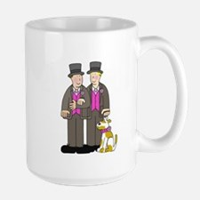 Two grooms and a dog. Mug