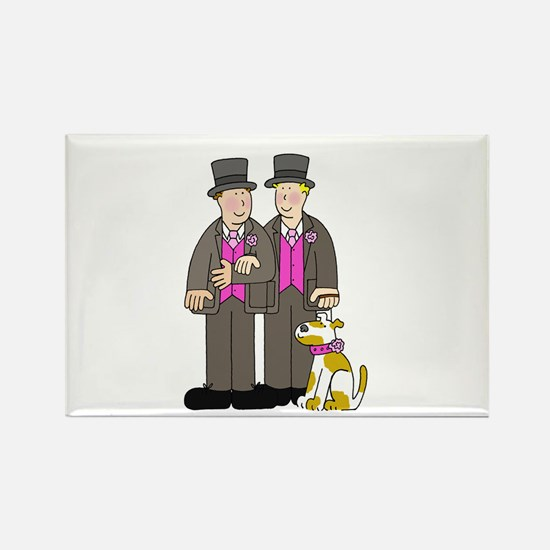 Two grooms and a dog. Rectangle Magnet
