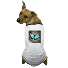 Blue Butterfly on Lily Pad Dog T-Shirt