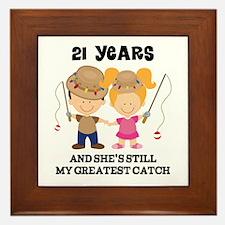 21st Anniversary Mens Fishing Framed Tile