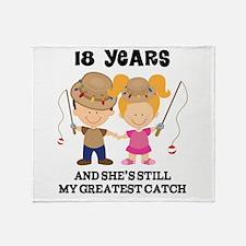 18th Anniversary Mens Fishing Throw Blanket
