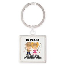 13th Anniversary Mens Fishing Square Keychain
