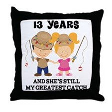 13th Anniversary Mens Fishing Throw Pillow