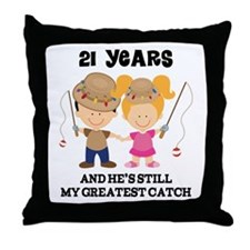 21st Anniversary Hes Greatest Catch Throw Pillow