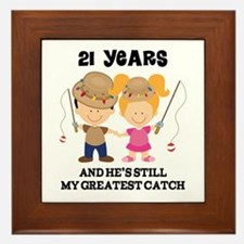 21st Anniversary Hes Greatest Catch Framed Tile