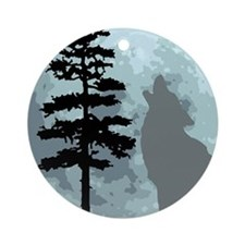wolfmoongray.png Ornament (Round)