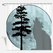 wolfmoongray.png Shower Curtain