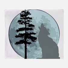 wolfmoongray.png Throw Blanket