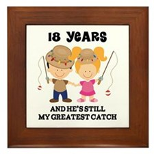 18th Anniversary Hes Greatest Catch Framed Tile
