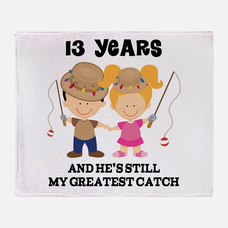 13th Anniversary Hes Greatest Catch Throw Blanket