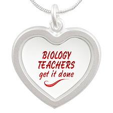 Biology Teachers Silver Heart Necklace