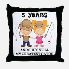 5th Anniversary Mens Fishing Throw Pillow