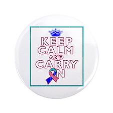 """Thyroid Cancer Keep Calm Carry On 3.5"""" Button"""