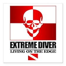 "Extreme Diver (Skull) Square Car Magnet 3"" x 3"""