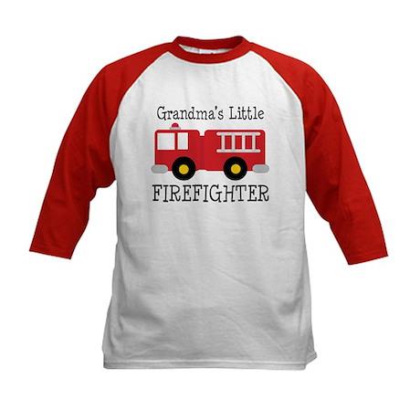 Grandma's Little Firefighter Kids Baseball Jersey