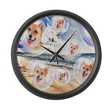 Beach Corgis Large Wall Clock