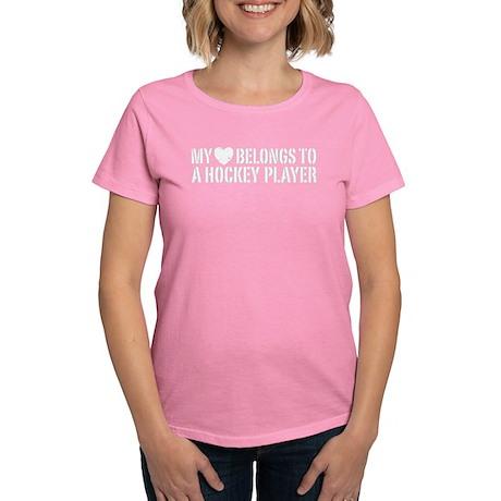 My Heart Belongs To A Hockey Player Women's Dark T
