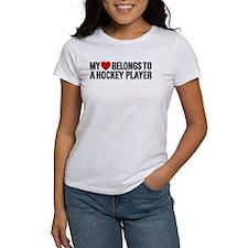 My Heart Belongs To A Hockey Player Tee