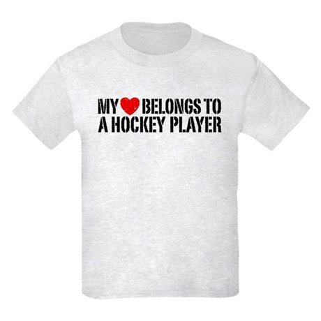 My Heart Belongs To A Hockey Player Kids Light T-S