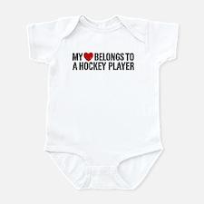 My Heart Belongs To A Hockey Player Infant Bodysui