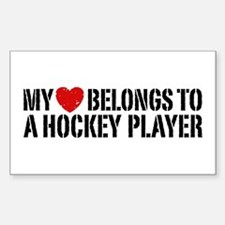 My Heart Belongs To A Hockey Player Decal