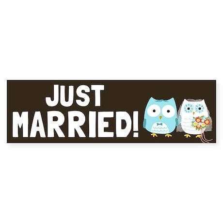 Just Married Owls Sticker (Bumper 10 pk)