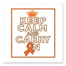 "Leukemia Keep Calm Carry On Square Car Magnet 3"" x"