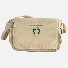 DUE IN NOVEMBER BLUE BABY FEET Messenger Bag