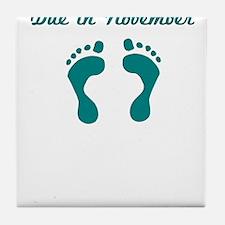 DUE IN NOVEMBER BLUE BABY FEET Tile Coaster