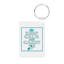Cervical Cancer Keep Calm Carry On Keychains