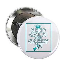 "Cervical Cancer Keep Calm Carry On 2.25"" Button"