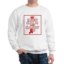 Blood Cancer Keep Calm Carry On Sweatshirt