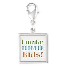 I Make Adorable Kids Silver Square Charm