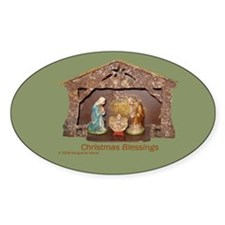 Christmas Blessings, Little Creche Oval Decal