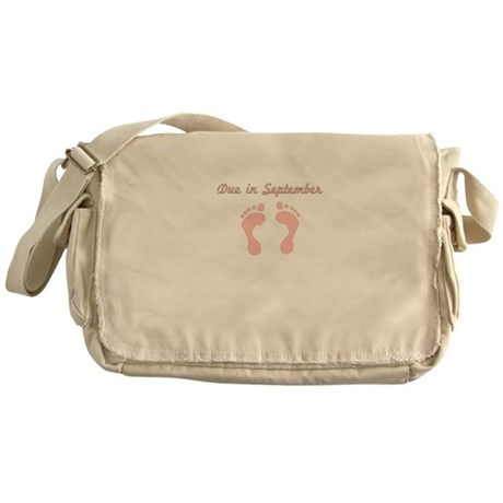 DUE IN SEPTEMBER PINK BABY FEET Messenger Bag