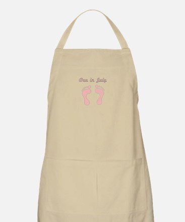 DUE IN JULY PINK BABY FEET Apron
