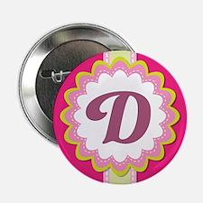 """Monogram Alphabet Letter D Pink 2.25"""" Button"""