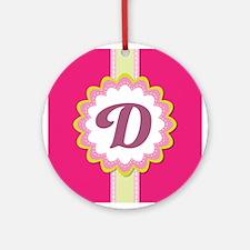 Monogram Alphabet Letter D Pink Ornament (Round)