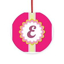 Monogram Alphabet Letter E Pink Ornament (Round)