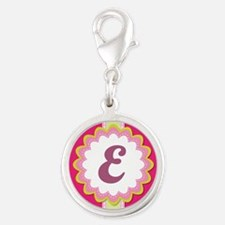 Monogram Alphabet Letter E Pink Silver Round Charm