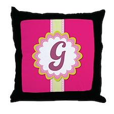 Monogram Alphabet Letter G Pink Throw Pillow