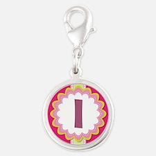 Monogram Alphabet Letter I Pink Silver Round Charm