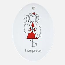Sign Language Interpreter Oval Ornament