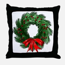 Wreath and Bow Throw Pillow