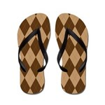 Brown Argyle Flip Flops